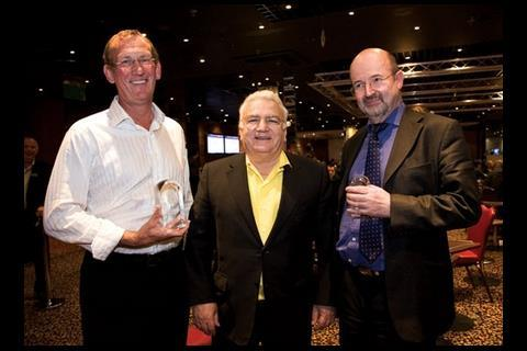 The players who split the pot: Eric Roberts (left) and Jim Dunsford (right), with Stefanou